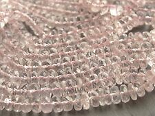 "HAND FACETED MORGANITE RONDELLE BEADS, graduated 5.2mm - 6mm, 15"", 125+ BEADS"