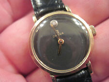 ladies museum diamond dial OMEGA in solid 14K yellow gold on new leather band