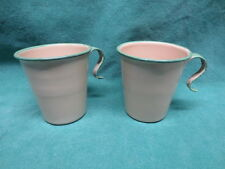 Rare Vintage Cream and Green Enamelware Cups Unique Flared Handles