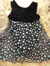 girls XS MOTIONWEAR BLACK LEOTARD glitter dots FANCY skirt GYMNASTICS x-small