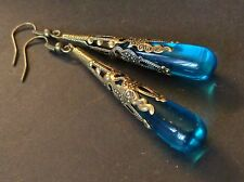 Vintage Earrings Long Nouveau Filigrees W/ Aqua Blue Czech Glass Drops