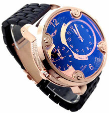 122A Mens New Sports Black Band Wrist Watch Rose Gold Case Big Chunky Multi Dial