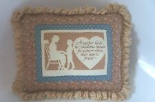 SMALL COUNTRY-STYLE PILLOW WITH RUFFLE: MOTHER AND CHILD THEME