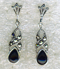 "925 Sterling Silver Black Onyx & Marcasite Drop / Dangle Earrings  Length 1"""