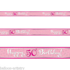 9ft Classic Pink Style Happy 50th Birthday Foil Banner Decoration