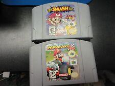 Super Smash Bros. Mario Kart 64 N64 Nintendo 64 games lot of 2