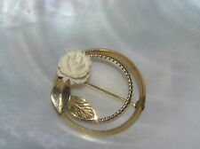 Vintage Goldtone Circle with Carved Cream Rose Flower & Leaves Pin Brooch –1 and