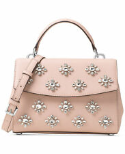 NWT MICHAEL KORS Leather Ava Jewel Small Satchel Crossbody Ballet Pink Silver