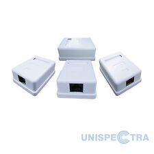4 x CAT5e 1-PORT SURFACE MOUNT OUTLET BOX WITH FACE PLATE