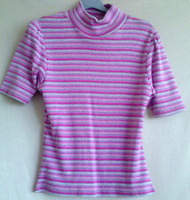 Pink, white & silver striped, fine knit top, with gather detail. UK 12-14. BNWT