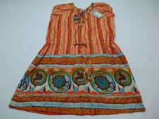 World Market Womens Size L/XL Orange & Teal Naari Dress New