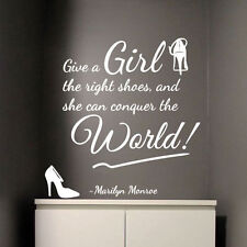 MARILYN MONROE Girl Right Shoes Conquer World Art Quote Wall Stickers Decal 332