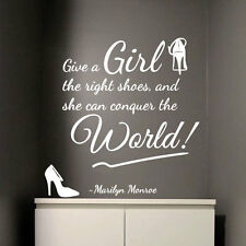 Marilyn monroe fille bonnes chaussures conquérir monde art citation wall stickers decal 322
