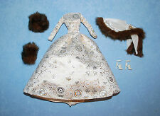 Ivory Cream Gown w/ Gold & White & Faux Fur Accents Genuine BARBIE Dress Outfit