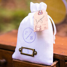 "6 Plain White Linen Drawstring Wedding Favor Bags 4""x6"""