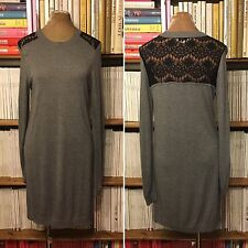 WHISTLES grey knit jersey black lace back dress UK 12-14 / US 8-10