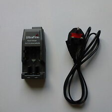 18650 Battery Charger with UK legal 3 pin lead and 2 x NEW Batteries