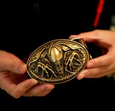 Fine COOL Handmade Bronze AVP Alien Queen Men Belt Buckles Cowhide Leather OP92