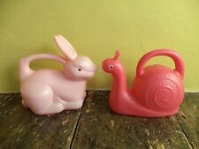 Rabbit & snail kitsch retro baby pink cerise plastic real animal objects figure