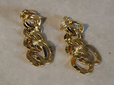 Gorgeous Signed MONET 1980's Gold Tone Tripple Loop Drop Earrings Enchanting!