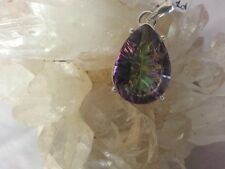 925 Sterling Silver & Mystic Topaz Pendant Large Purple Green Stone