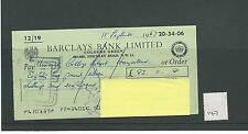 wbc. - CHEQUE - CH147 - USED -1960s - BARCLAYS BANK, GOLDERS GREEN, LONDON  NW11