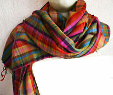 VIBRANT PLAID CHECK ~100% CASHMERE PASHMINA SHAWL/WRAP : 12 DESIGNS CHOICE