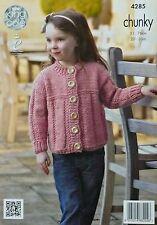 KNITTING PATTERN Childrens Long Sleeve Round Neck Cardigan Chunky King Cole 4285
