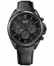 NEW HUGO BOSS 1513061 MENS BLACK LEATHER DRIVERS CHRONO WATCH - 2 YEAR WARRANTY