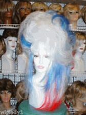 SIN CITY WILD WIGS! RED WHITE BLUE PATRIOTIC SIDE DO LONG STRAIGHT TEASED VOLUME