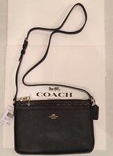 NWT COACH Black Crossgrain Leather  EW / East West Pop Crossbody F57788 NEW