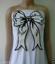SY162 Black & White Bow Bows Sequined Applique Motif Iron On