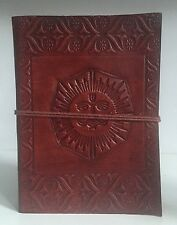 Large Diary Leather Recycled Sun Face Sun God Embossed Notebook Journal