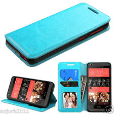 For HTC Desire 626 / 626s / 530 Folio Pouch Wallet w/Stand+ID Slot Cover Blue
