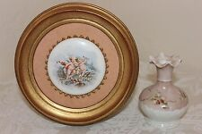 Round Porcelain Portrait of Cherubs and Vintage Hand Painted Vase, Signed,Shabby
