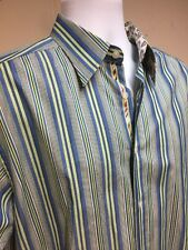 Robert Graham Large Long Sleeve 100% Cotton Green Made in India