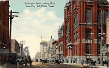 1910 Stores Commerce St. looking West from City Hall Dallas TX post card RPO