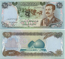 Rare Iraq 25 Dinar Saddam Hussein Military Uniform UNC