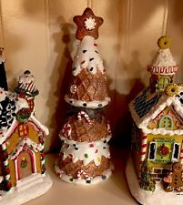 "GINGERBREAD PEPPERMINT CANDY TREE FAKE CANDY CANE XMAS DECOR ICING Lg 9"" Village"