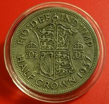1937 XF HALF CROWN GEORGE V BRITISH SILVER COIN PROTECTIVE CAPSULE