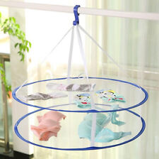 2 layers Folding Drying Rack Hanging Clothes Laundry Sweater Basket Dryer Net