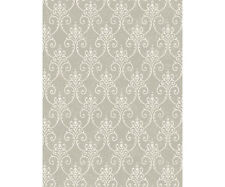 York Wallcoverings Silver Cream Filigree Damask Classic Textured Wallpaper Diy