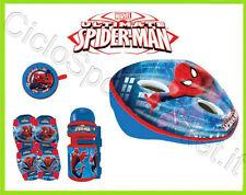Kit Spiderman Bimbo/Bambino bici CASCO + CAMPANELLO + BORRACCIA + GINOCCHIERE