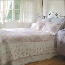 Queen Bed Country Pink Shabby Rag & Roses Chic Patchwork Quilt Bedspread Set New