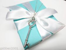 """Tiffany & Co. Silver Large 2 Inch Heart Key Necklace Pendant 16"""" w/ Box & Pouch"""