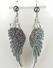KIRKS FOLLY BEADED FLY HOME ANGEL WING LEVERBACK EARRINGS ST/PARADISE SHINE