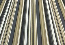 "WAVERLY PATIO STRIPE CHARCOAL GRAY FURNITURE CUSHION FABRIC BY THE YARD 54""W"