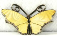 VTG DAVID ANDERSEN NORWAY STERLING SILVER YELLOW ENAMEL BUTTERFLY PIN
