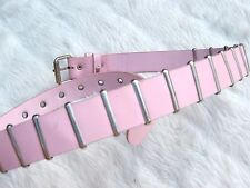 Vintage Pink faux leather silver metal bar Belt Cyber SteamPunk Dream Punk Small