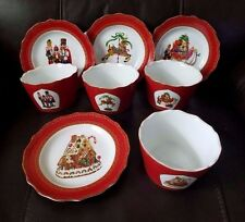 222 Fifth Christmas Fun 4 Appetizer / Dessert Plates and 4 Appetizer Bowls New